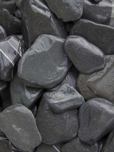 Flat Pebbles zwart 30 - 60mm (3 - 6cm) (nat)